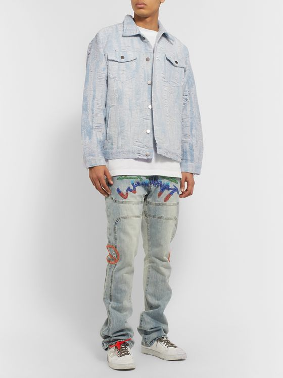 WHO DECIDES WAR by Ev Bravado Distressed Denim Jacket