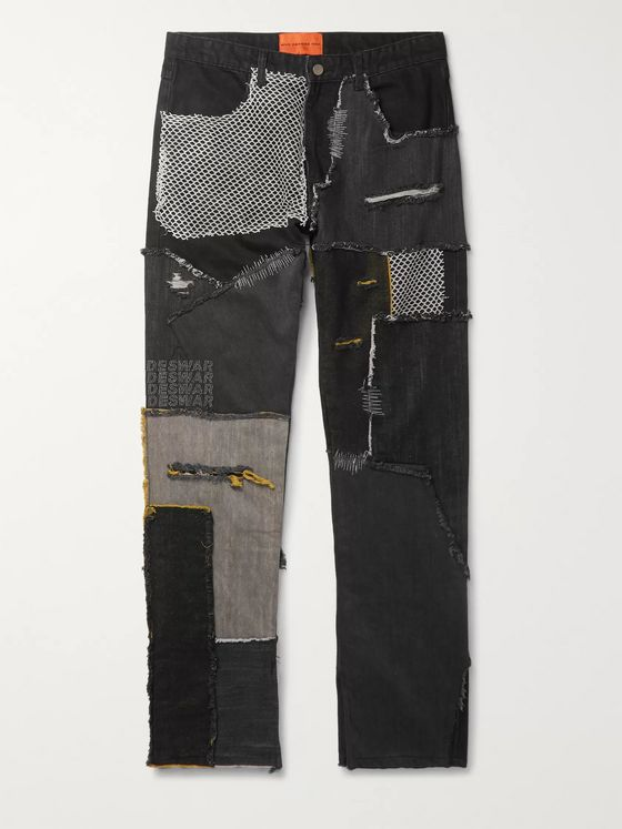WHO DECIDES WAR by Ev Bravado Embellished Patchwork Denim Jeans