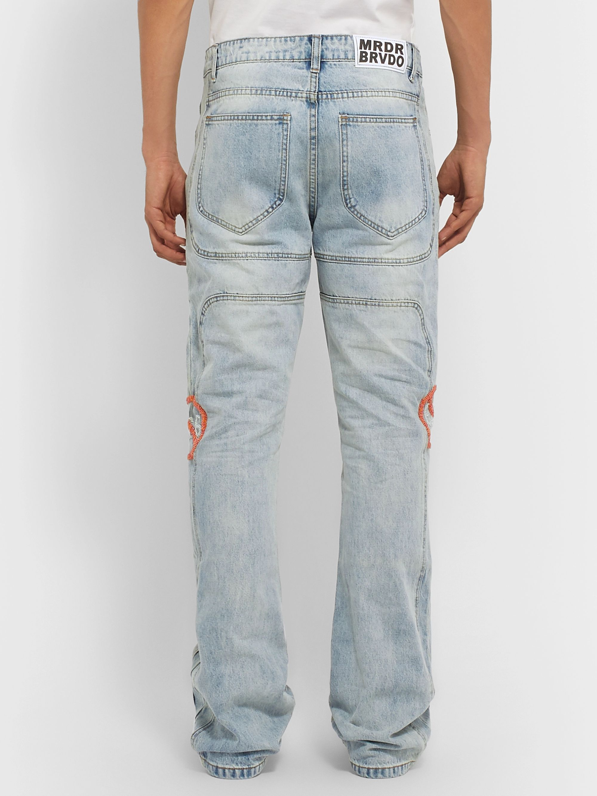 WHO DECIDES WAR by Ev Bravado Flared Embellished Denim Jeans