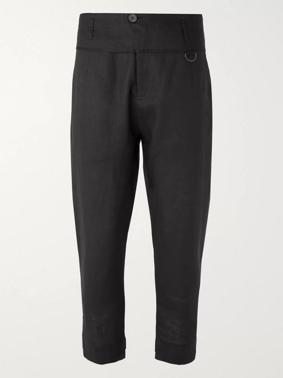 Isabel Benenato Black Slim-Fit Tapered Cropped Linen Trousers