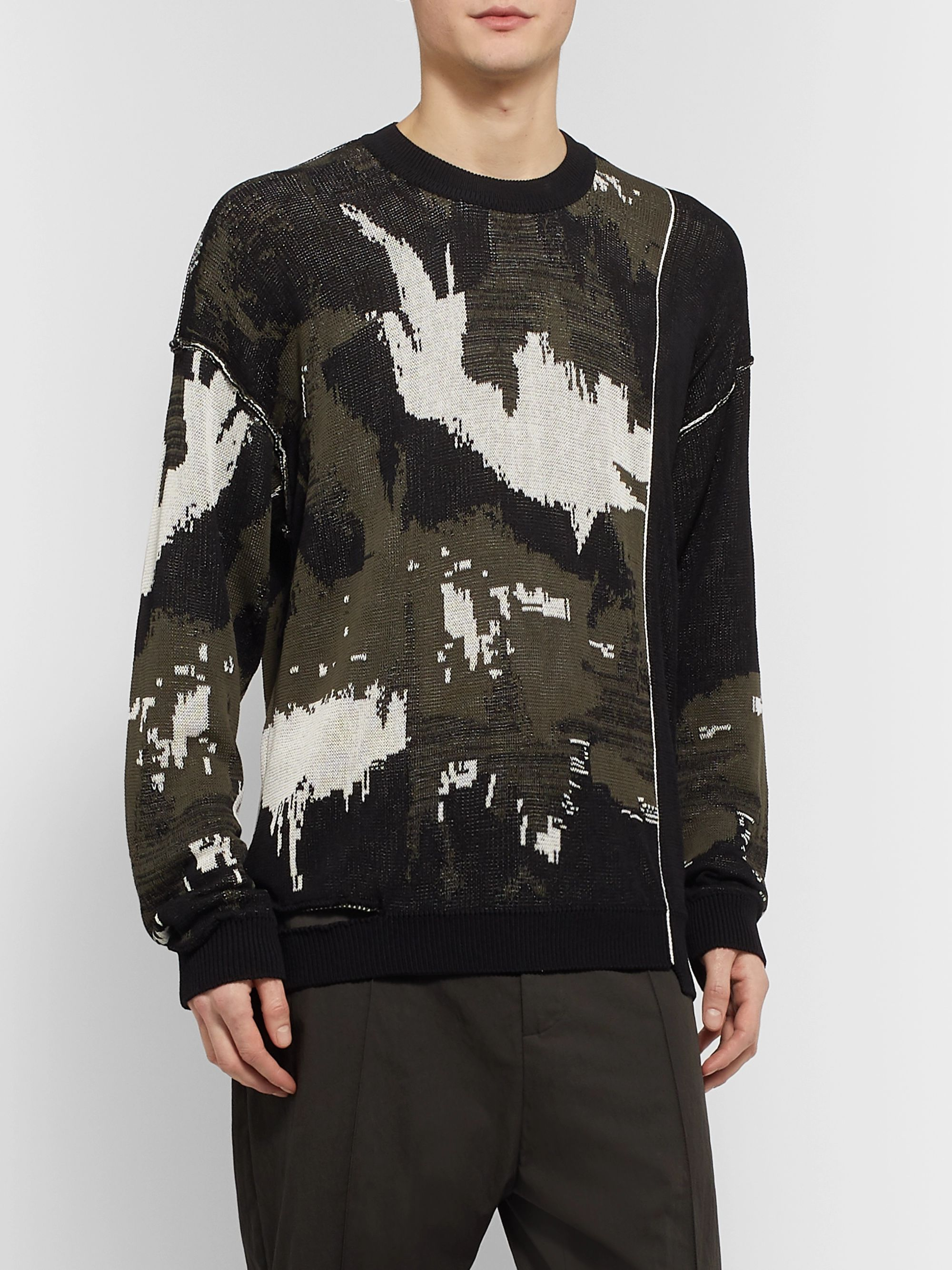 Isabel Benenato Oversized Distressed Cotton-Jacquard Sweater