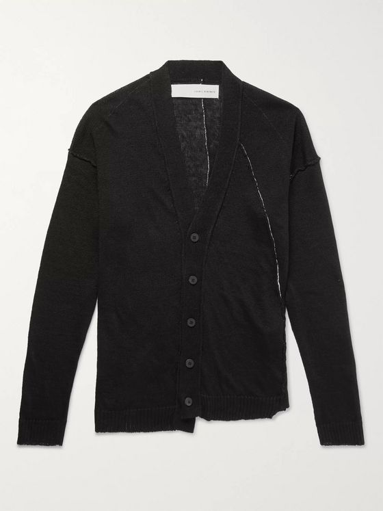 Isabel Benenato Distressed Linen Cardigan