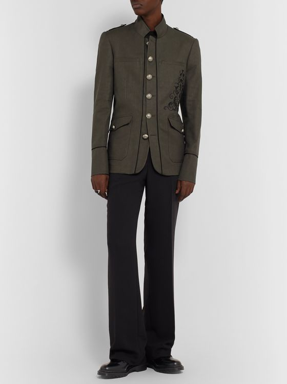 Isabel Benenato Embroidered Linen and Cotton-Blend Twill Blazer