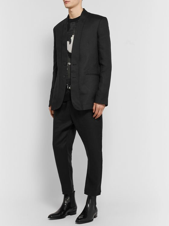Isabel Benenato Black Slim-Fit Unstructured Linen Blazer