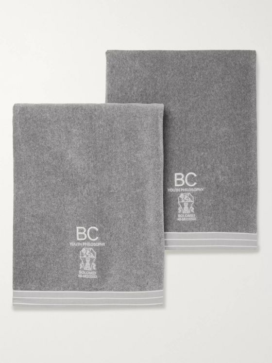 Brunello Cucinelli Set of Two Logo-Embroidered Cotton-Terry Towels
