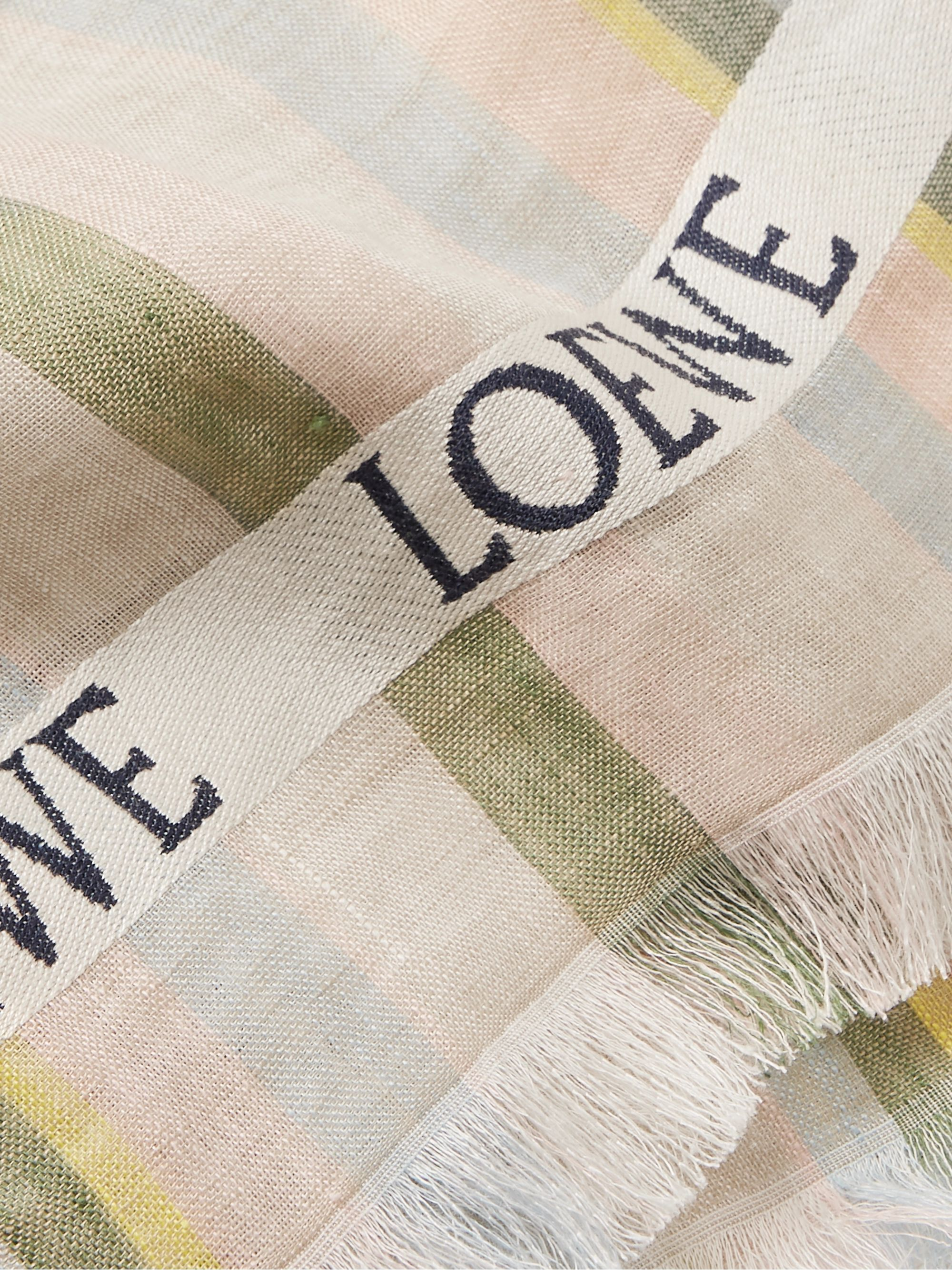 Loewe Fringed Striped Linen and Silk-Blend Scarf