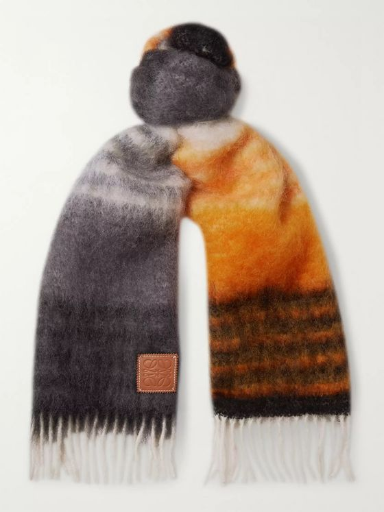 Loewe Logo-Appliquéd Fringed Striped Mohair-Blend Scarf