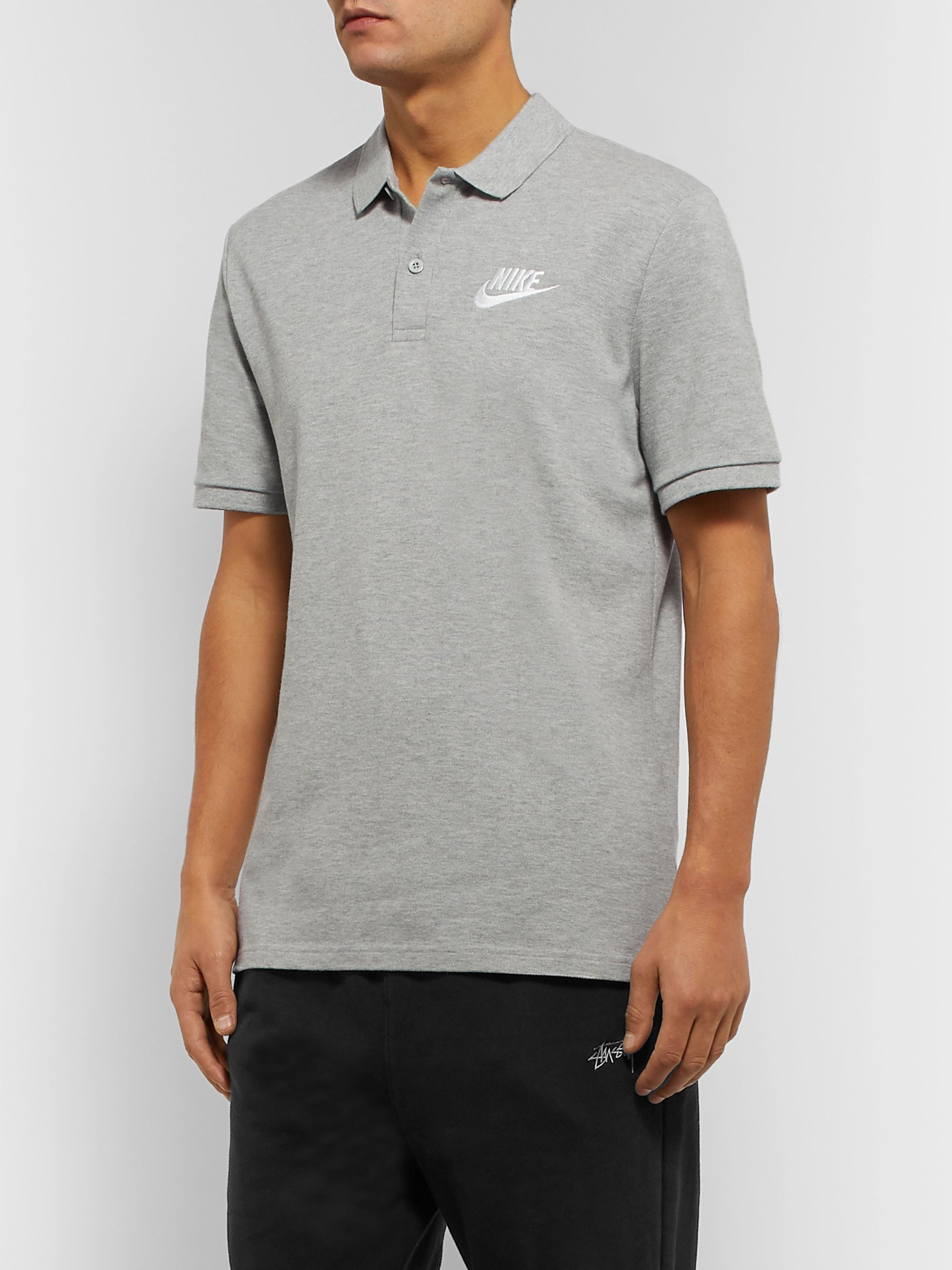 Nike Logo-Embroidered Mélange Cotton-Piqué Polo Shirt