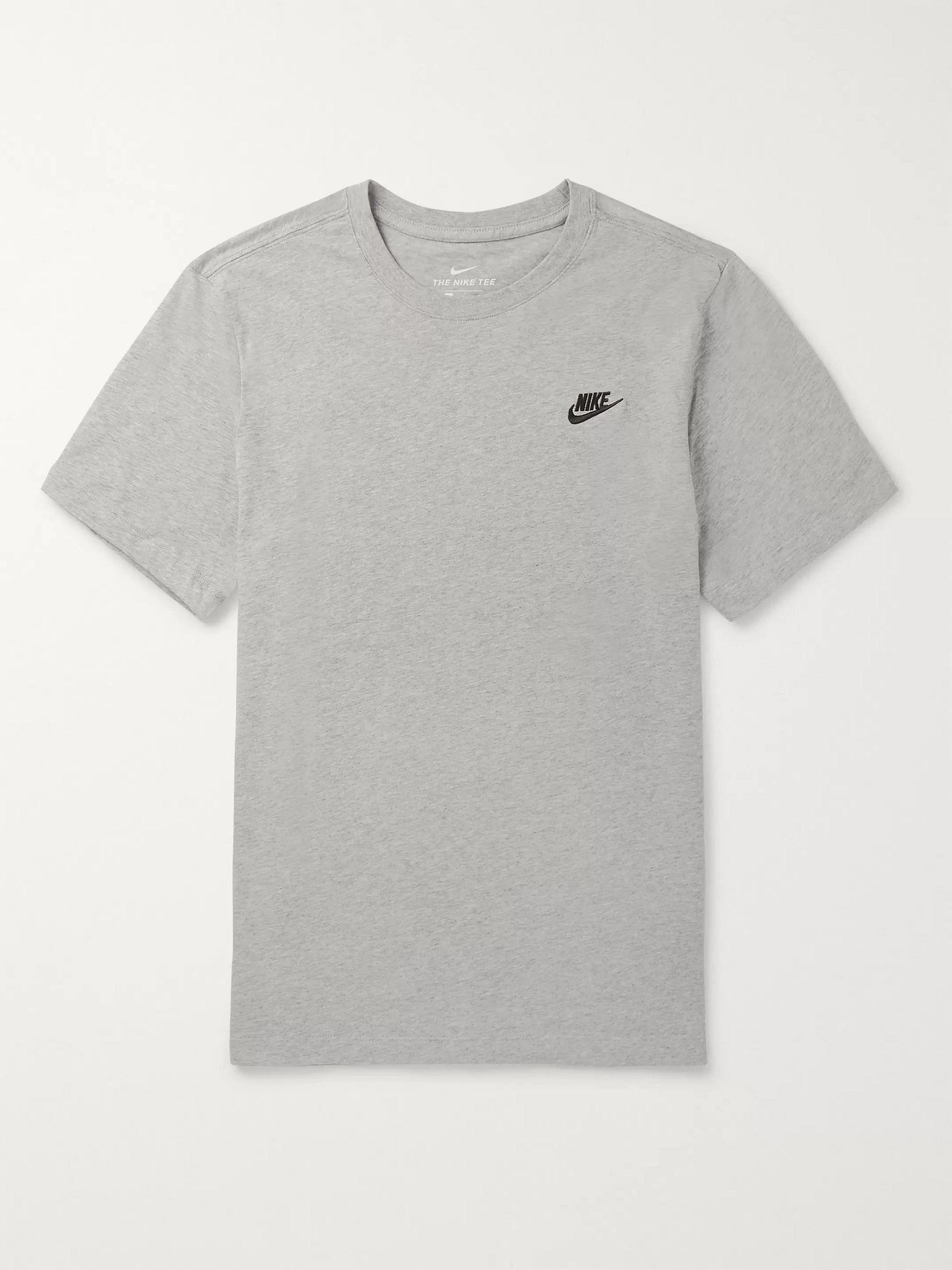 NIKE Logo-Embroidered Melange Cotton-Jersey T-Shirt