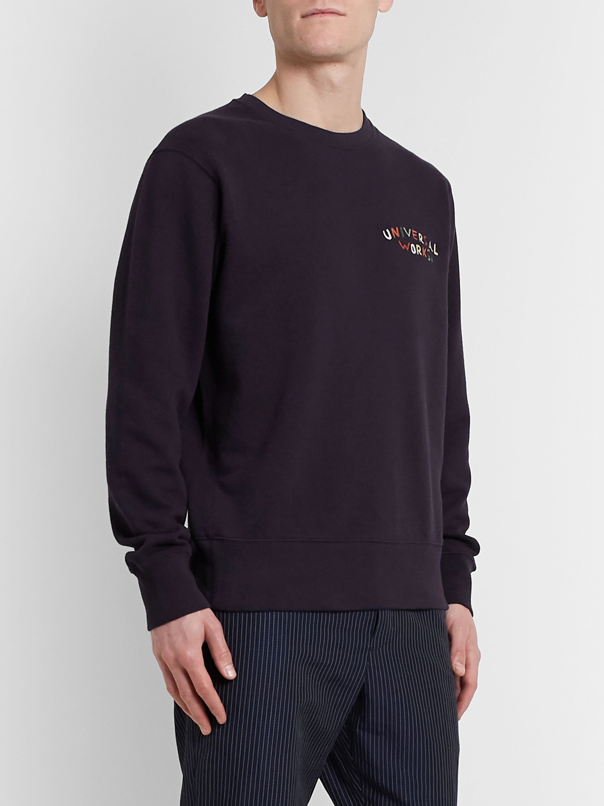 Universal Works Logo-Embroidered Loopback Cotton-Jersey Sweatshirt