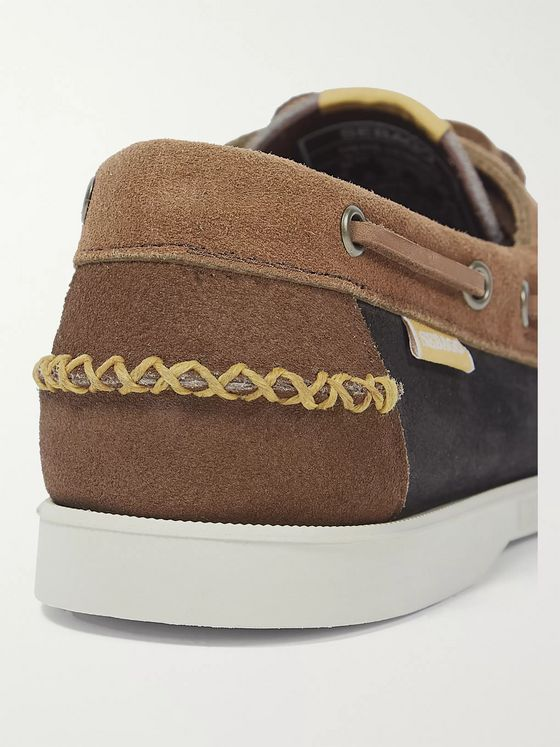 Universal Works + Sebago Portland Colour-Block Suede Kiltie Boat Shoes