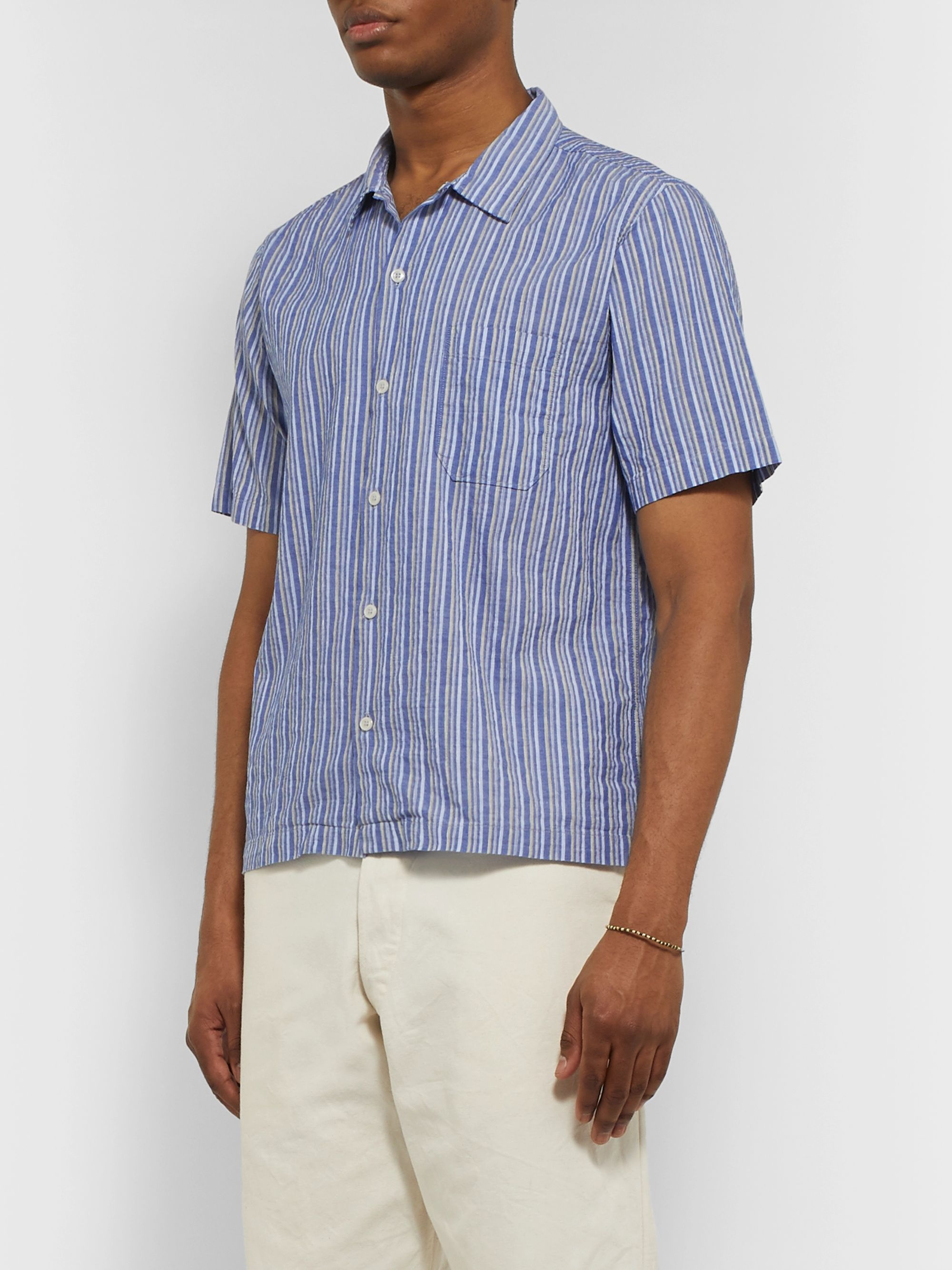 Universal Works Elton 2 Striped Cotton and Linen-Blend Shirt