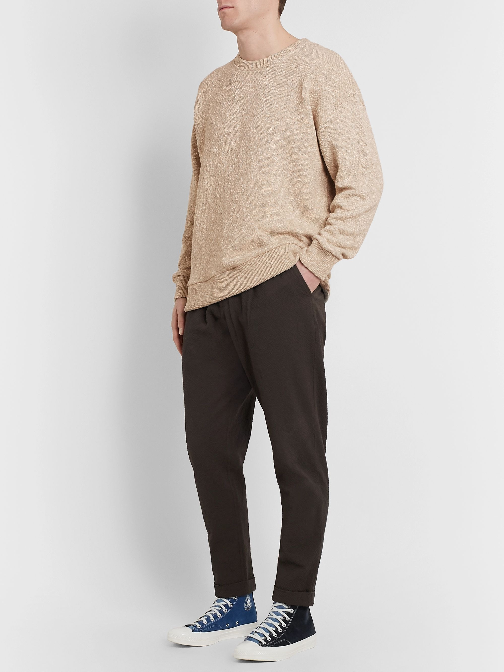 Universal Works Oversized Linen and Cotton-Blend Sweater