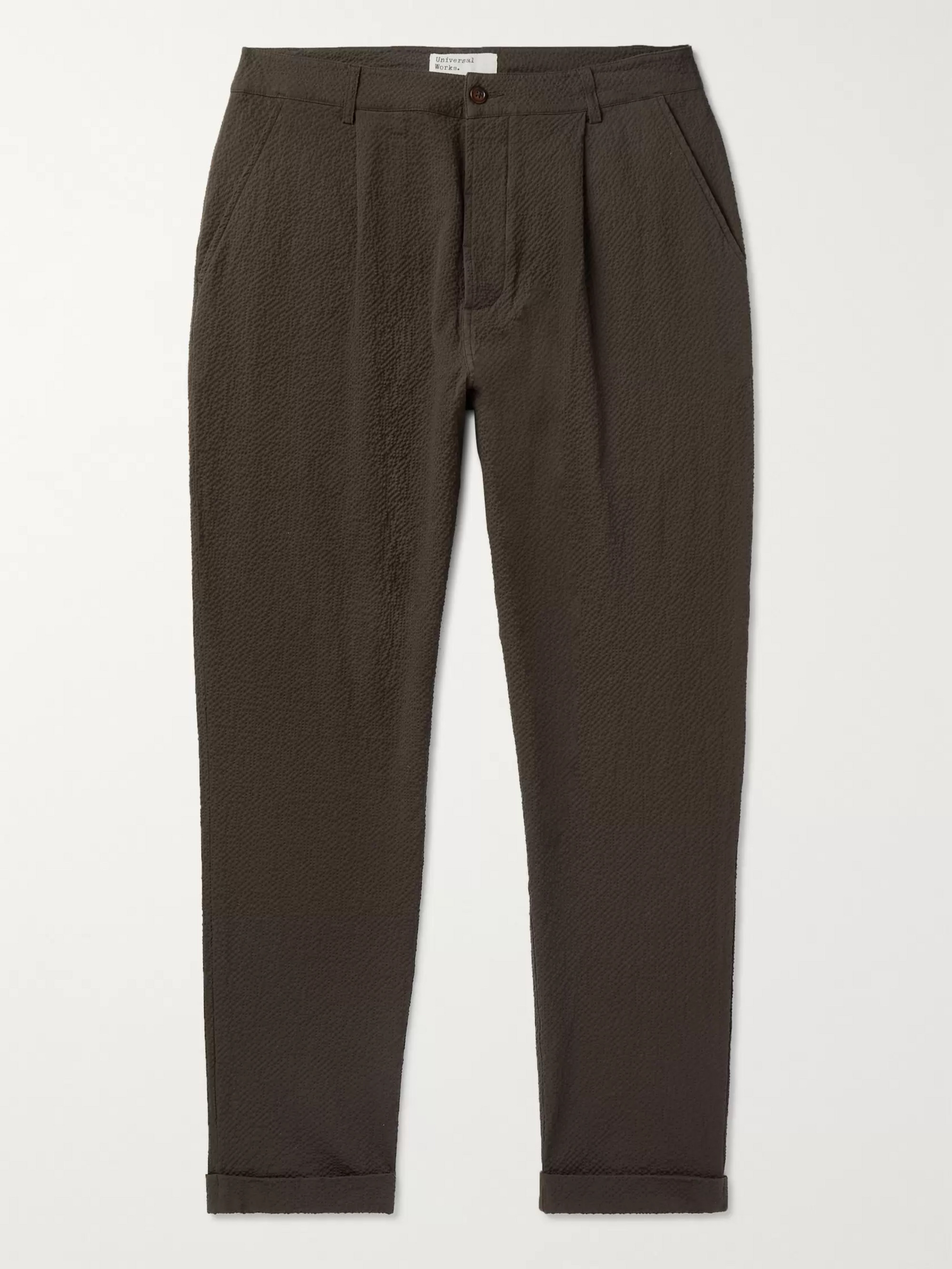 Universal Works Tapered Pleated Cotton-Blend Seersucker Trousers