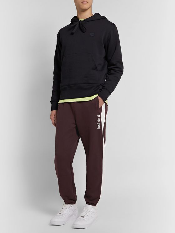 Nike JDI Logo-Embroidered Striped Fleece-Back Cotton-Blend Jersey Sweatpants