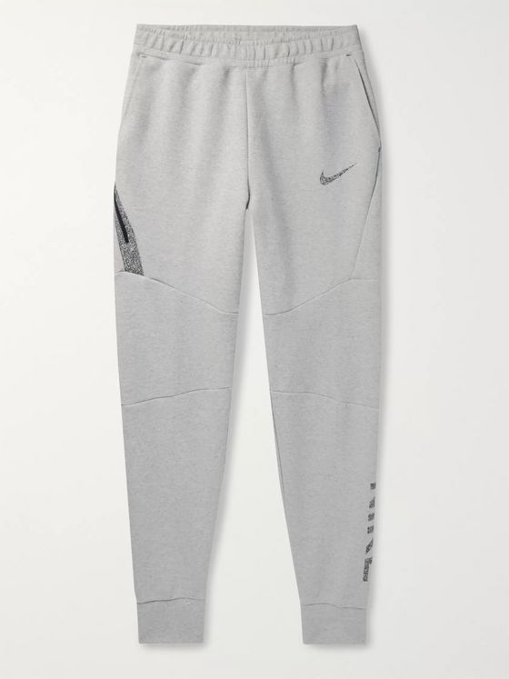 Nike Sportswear Nike 50 Slim-Fit Tapered Logo-Print Organic Cotton-Blend Jersey Sweatpants