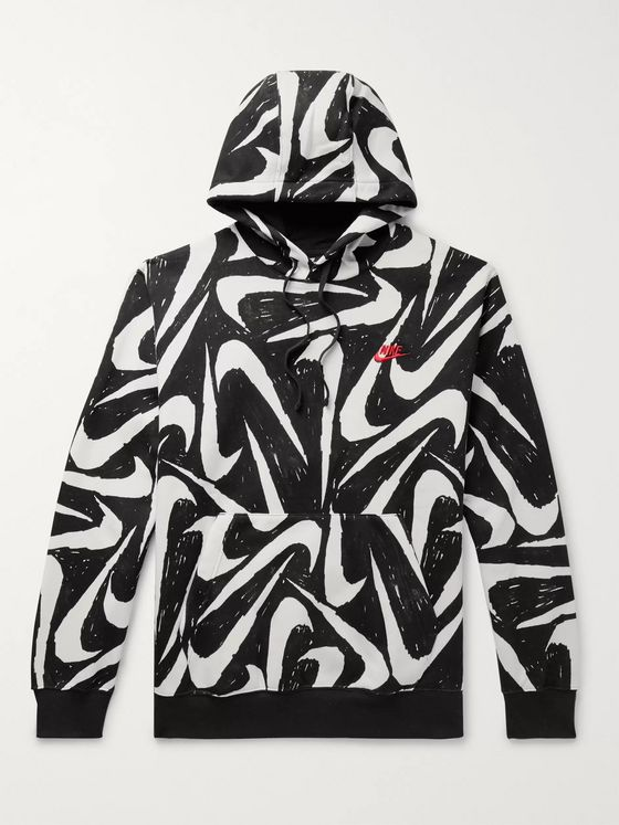 Nike Sportswear Club Printed Fleece-Back Cotton-Blend Jersey Hoodie