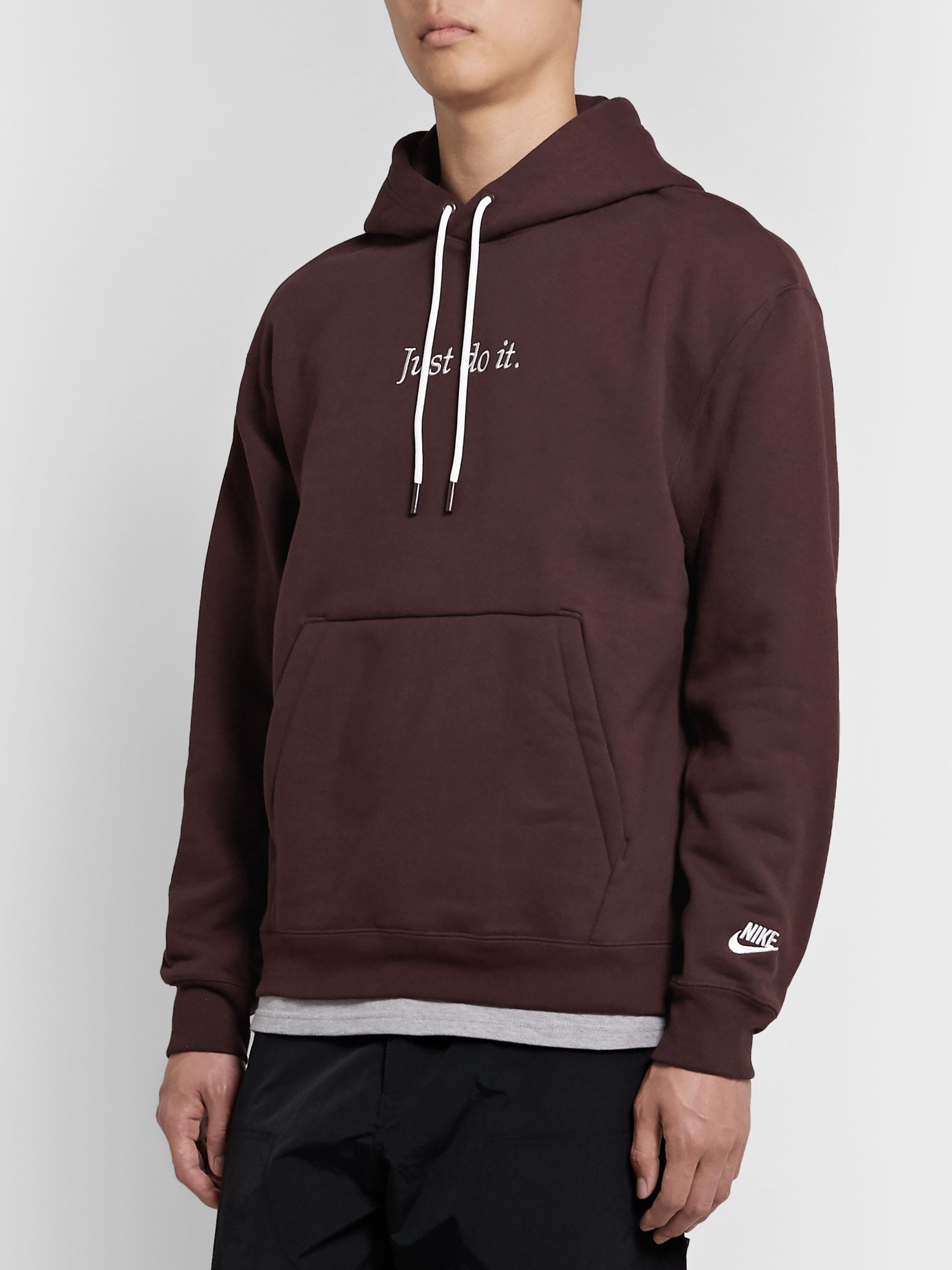 Nike JDI Logo-Embroidered Fleece-Back Cotton-Blend Jersey Hoodie