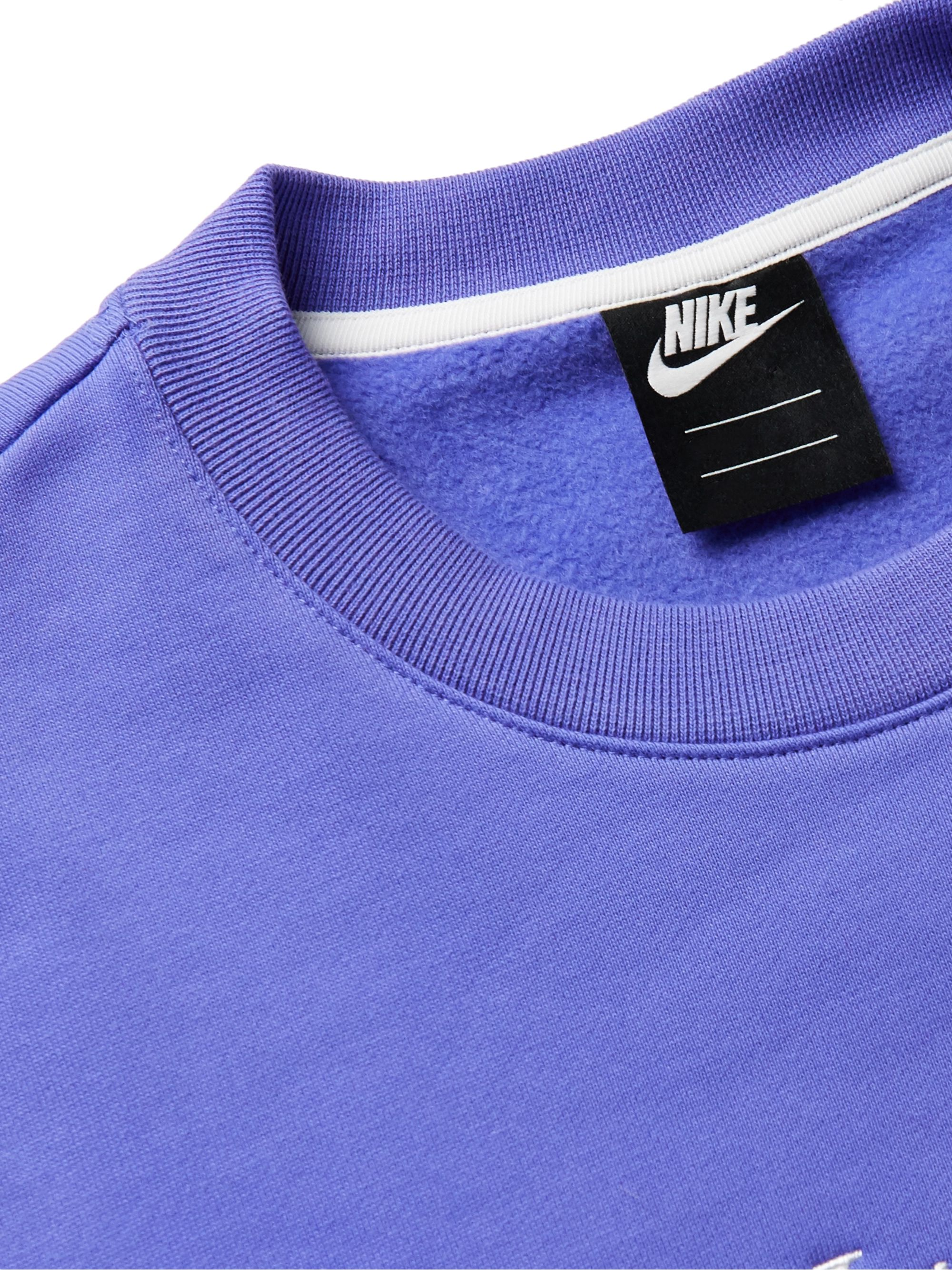 Nike Sportswear Logo-Embroidered Fleece-Back Cotton-Blend Jersey Sweatshirt