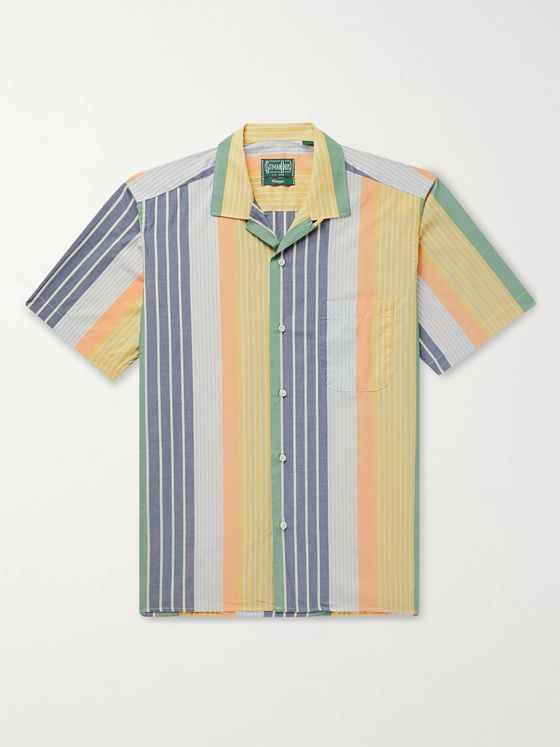 Gitman Vintage Camp-Collar Striped Cotton Shirt