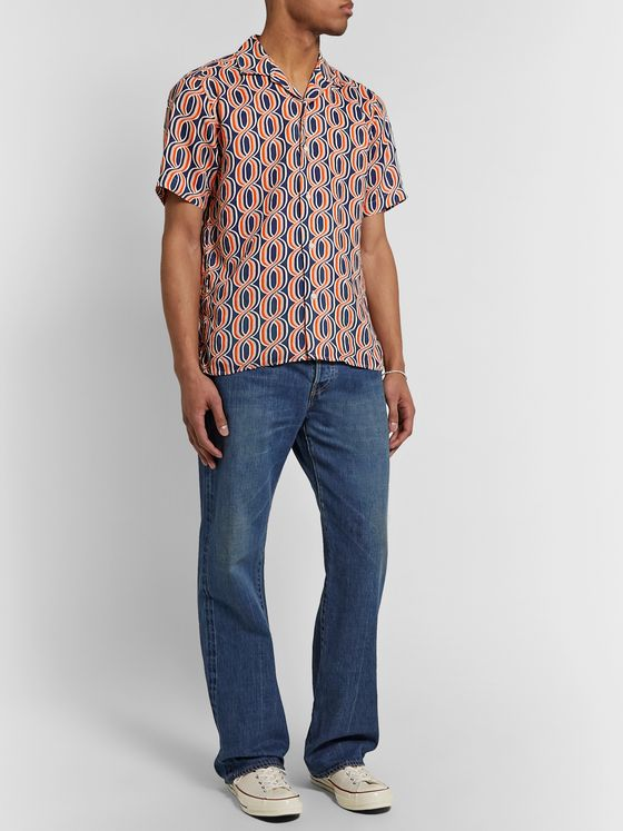 Gitman Vintage Camp-Collar Printed Linen Shirt