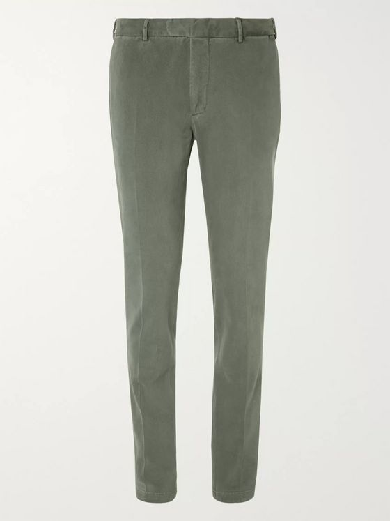 Boglioli Grey-Green Slim-Fit Cotton-Blend Gabardine Suit Trousers
