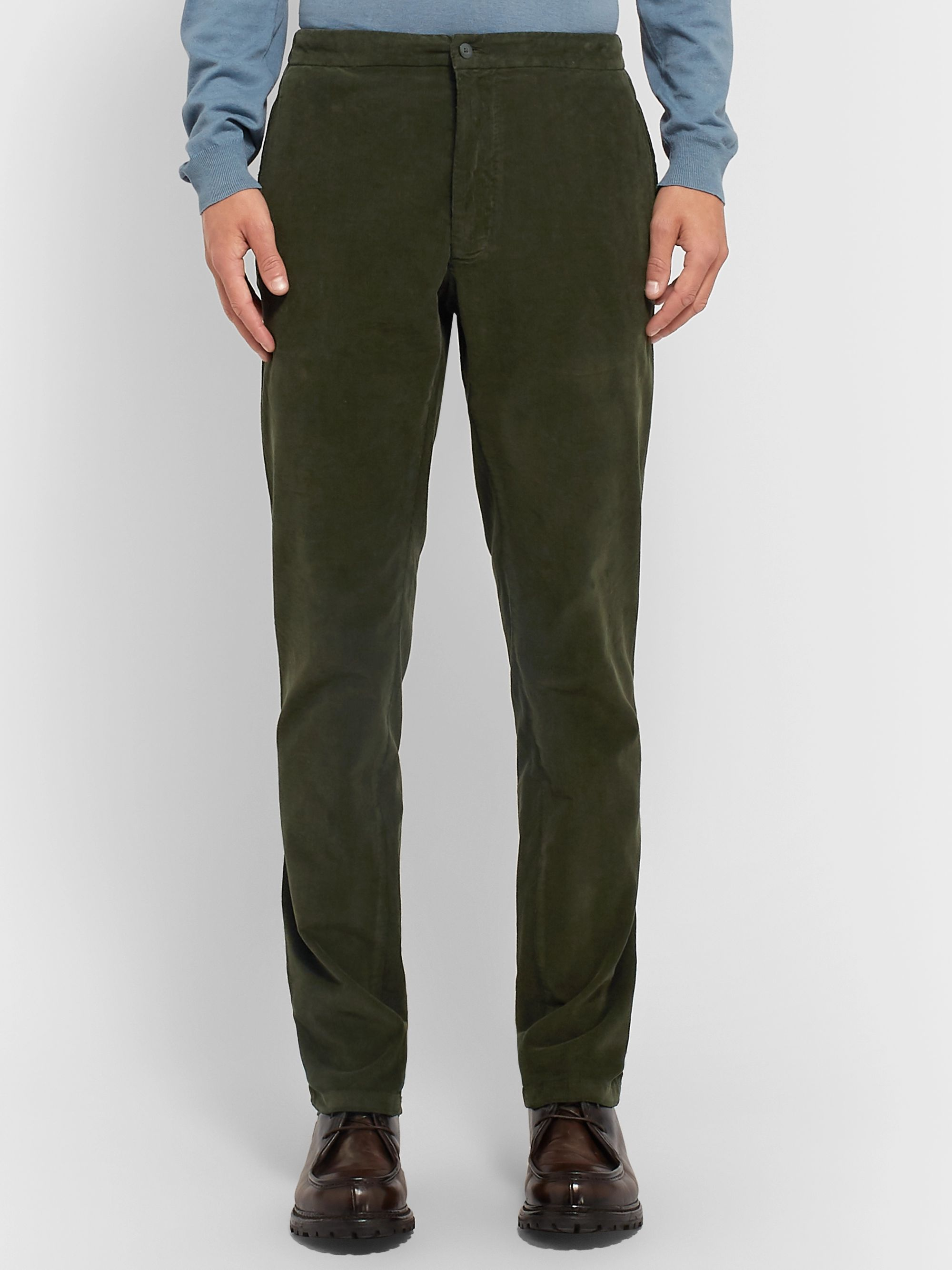 Boglioli Army-Green Slim-Fit Tapered Cotton-Blend Corduroy Suit Trousers