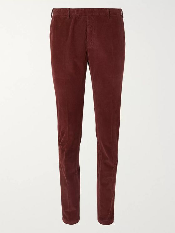 Boglioli Burgundy Slim-Fit Cotton-Blend Corduroy Suit Trousers