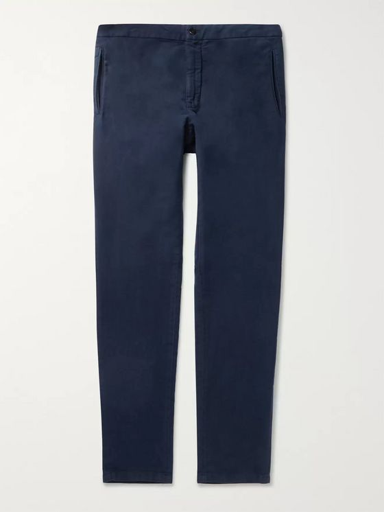 Boglioli Navy Tapered Cotton-Moleskin Drawstring Suit Trousers