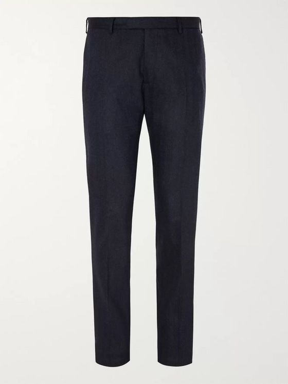Boglioli Navy Herringbone Virgin Wool-Blend Suit Trousers