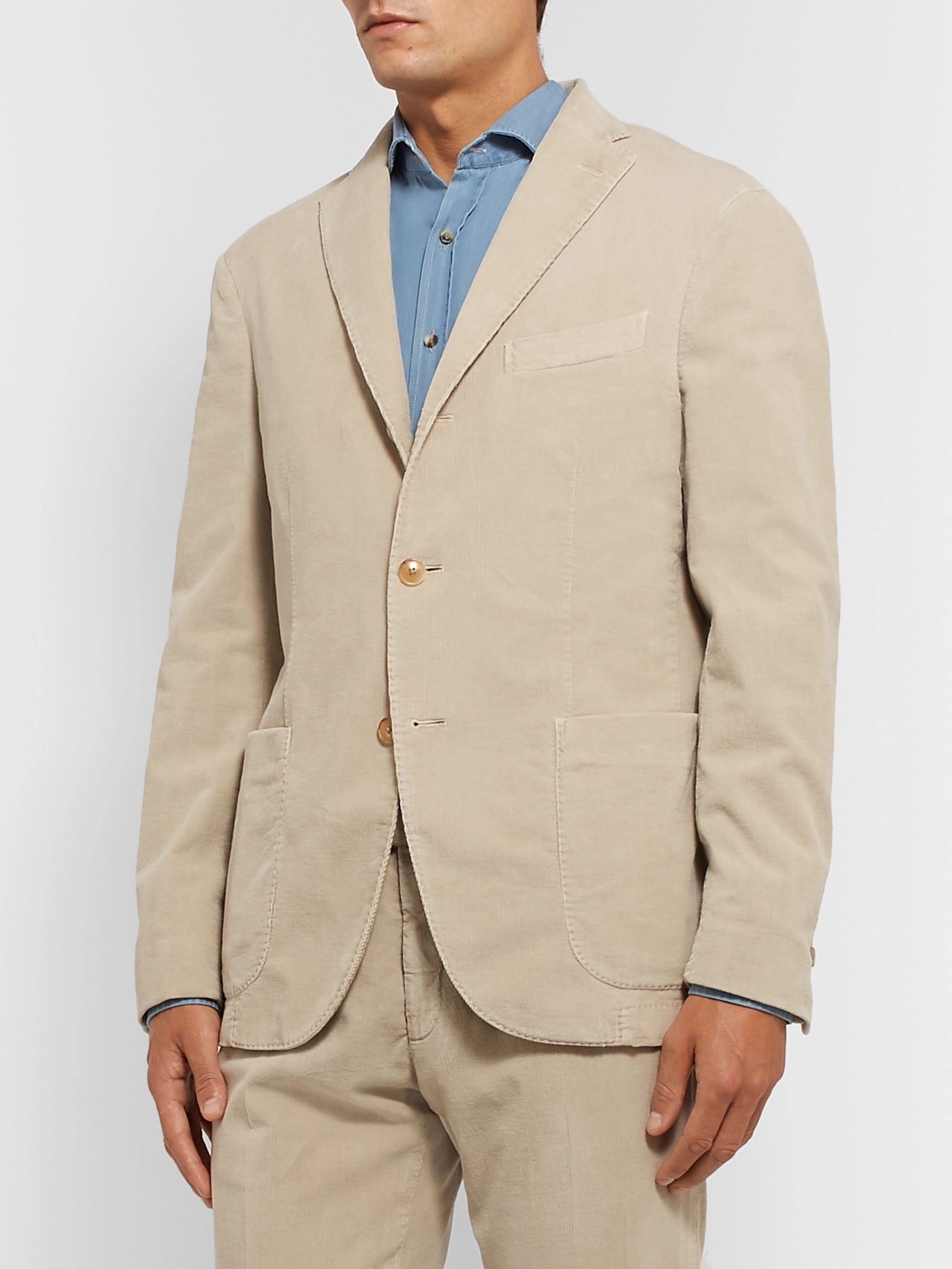 Boglioli Army-Green K-Jacket Slim-Fit Unstructured Cotton-Blend Corduroy Suit Jacket