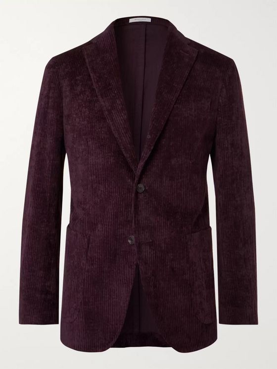 Boglioli Plum K-Jacket Unstructured Cotton-Blend Corduroy Blazer