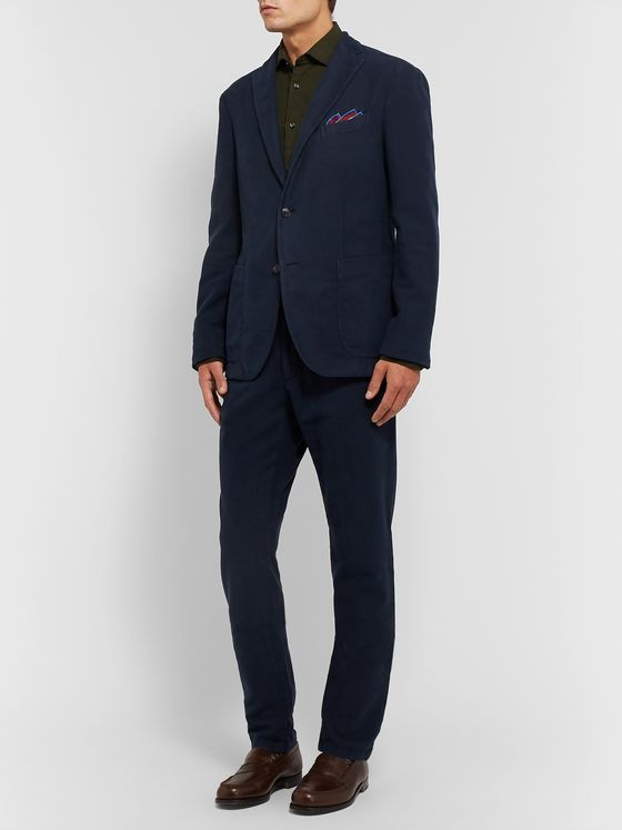 Boglioli Navy K-Jacket Slim-Fit Unstructured Cotton-Moleskin Suit Jacket