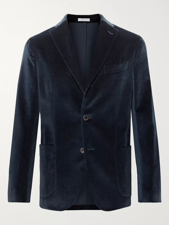Boglioli Midnight-Blue K-Jacket Slim-Fit Unstructured Cotton-Blend Velvet Blazer