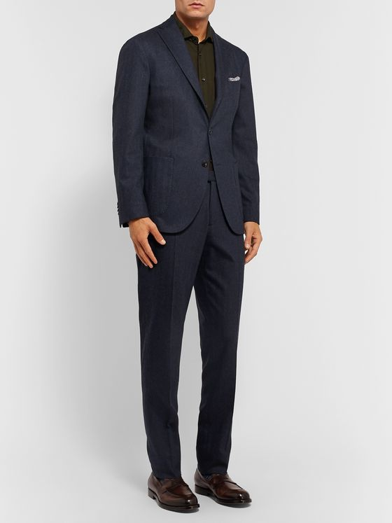 Boglioli Navy K-Jacket Slim-Fit Unstructured Herringbone Virgin Wool-Blend Suit Jacket