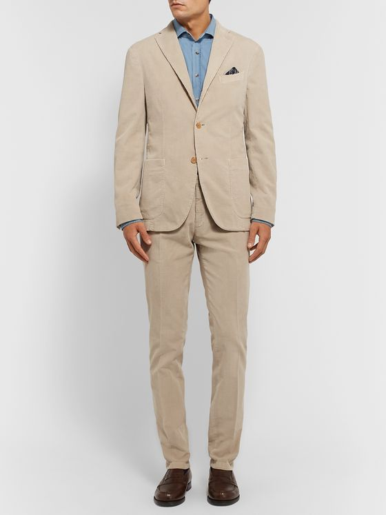 Boglioli Sand Slim-Fit Tapered Cotton-Blend Corduroy Suit Trousers