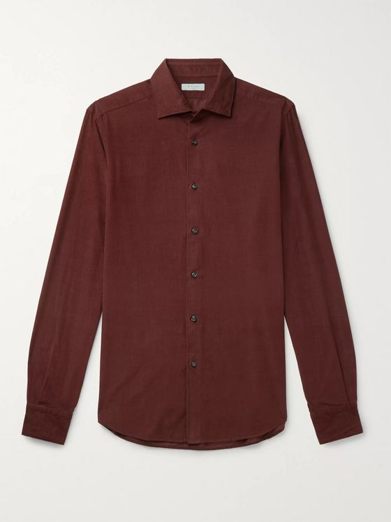 Boglioli Slim-Fit Garment-Dyed Cotton-Corduroy Shirt
