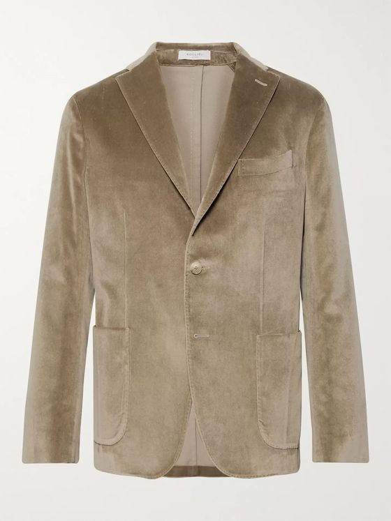 Boglioli Beige K-Jacket Slim-Fit Unstructured Cotton-Blend Velvet Blazer