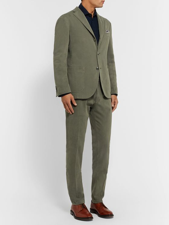 Boglioli Grey-Green K-Jacket Slim-Fit Unstructured Cotton-Blend Gabardine Suit Jacket