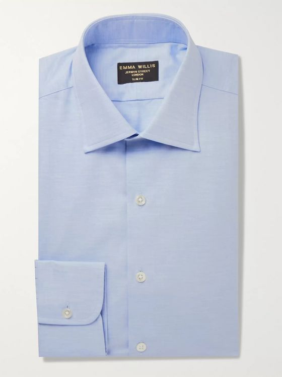 Emma Willis Light-Blue Slim-Fit Brushed Cotton-Twill Shirt