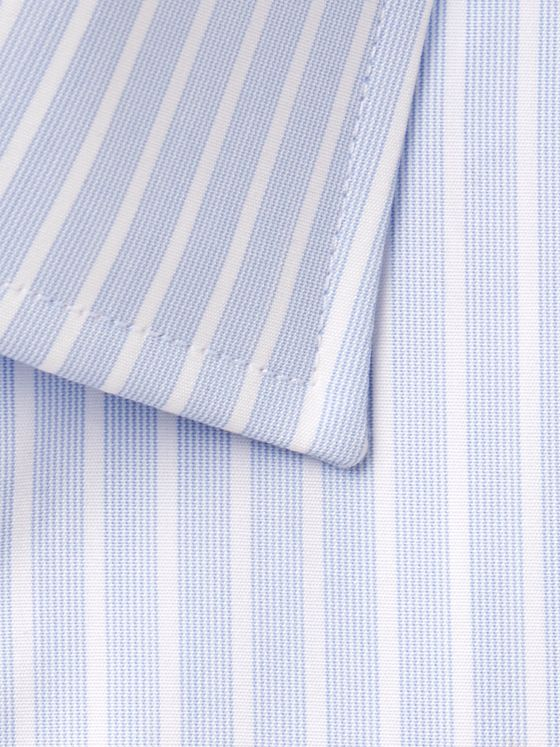 Emma Willis Light-Blue Slim-Fit Double-Cuff Striped Cotton-Poplin Shirt