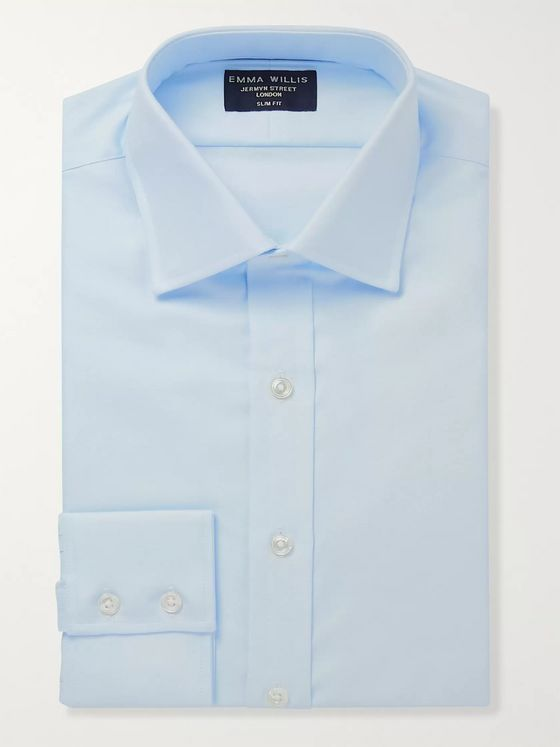Emma Willis Light-Blue Slim-Fit Cotton-Piqué Oxford Shirt