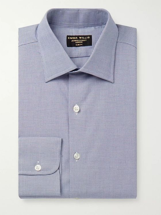 Emma Willis Blue Slim-Fit Puppytooth Cotton Shirt