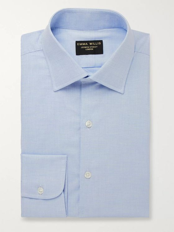 Emma Willis Light-Blue Puppytooth Cotton Shirt