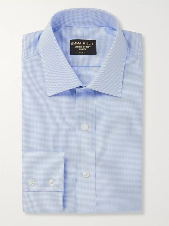 Emma Willis Light-Blue Slim-Fit Gingham Cotton-Poplin Shirt