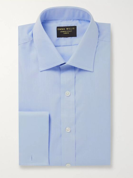 Emma Willis Blue Slim-Fit End-on-End Cotton Shirt
