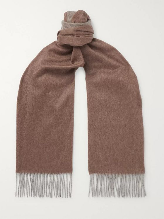 Emma Willis Fringed Colour-Block Cashmere Scarf