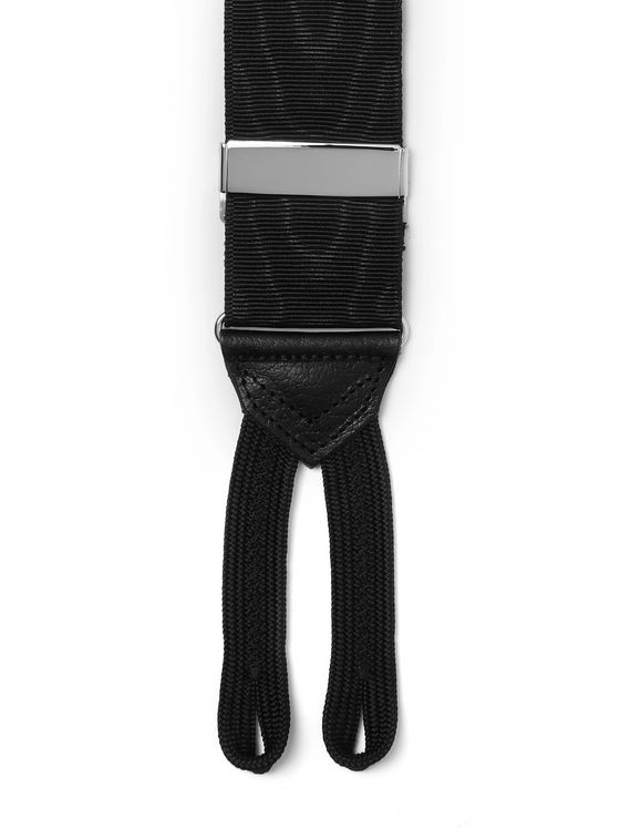Favourbrook Pickwick Leather-Trimmed Polka-Dot Silk-Jacquard Braces