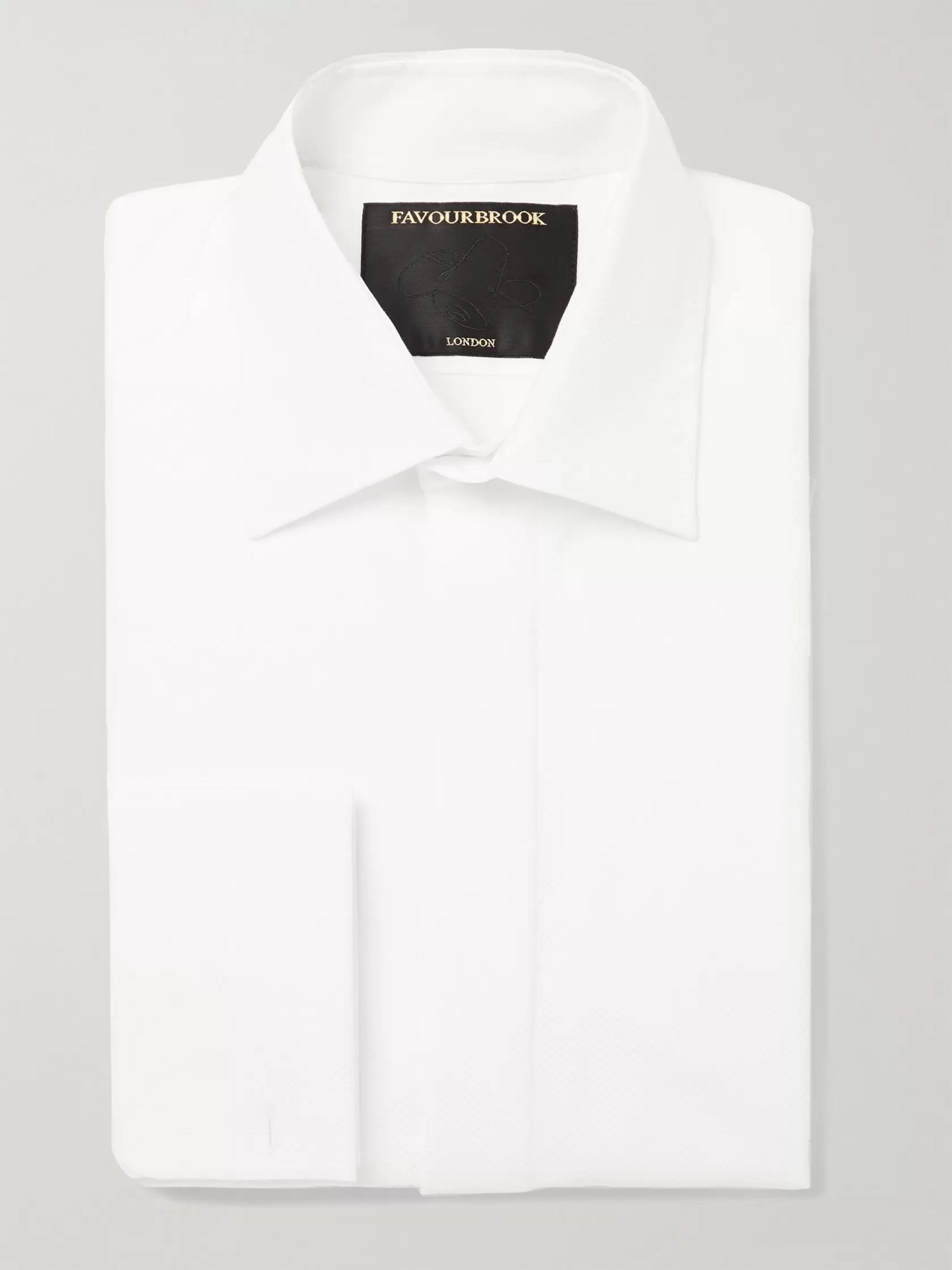 Favourbrook White Slim-Fit Bib-Front Double-Cuff Cotton-Piqué Tuxedo Shirt