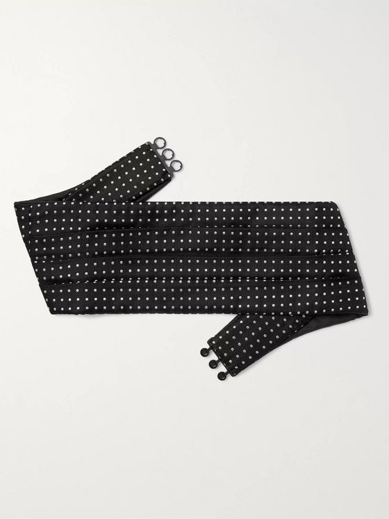 Favourbrook Pickwick Pleated Polka-Dot Silk-Jacquard Cummerbund